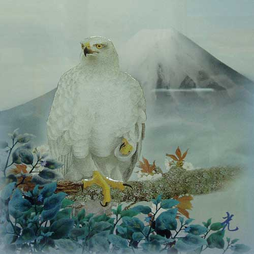 Mt Fuji, Hawk and Egg Plants
